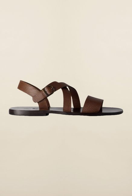 Louis Philippe Brown Cross Strap Sandals