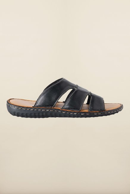 Louis Philippe Black Slide Sandals