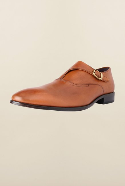 Louis Philippe Brown Monk Strap Shoes