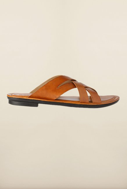 People Brown Cross Strap Sandals