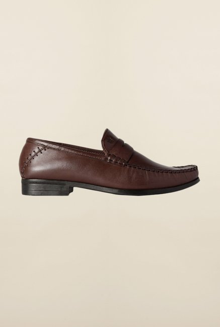 Louis Philippe Brown Formal Slip-Ons Shoes