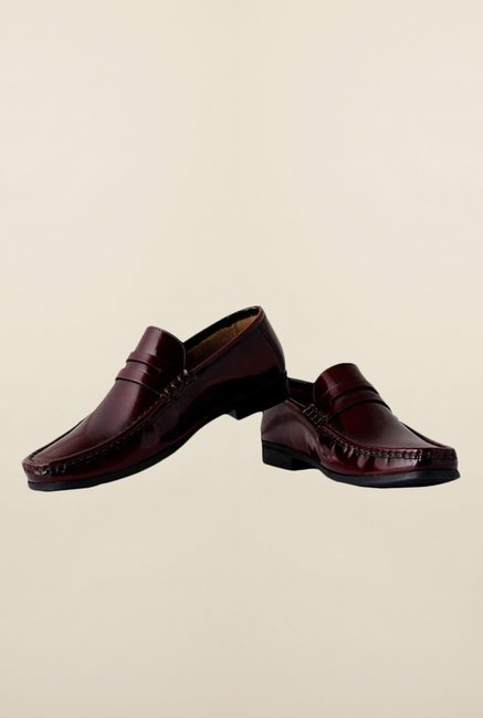 Louis Philippe Maroon Formal Slip-Ons Shoes