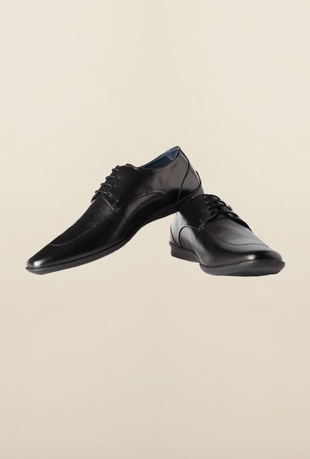 Louis Philippe Black Derby Shoes