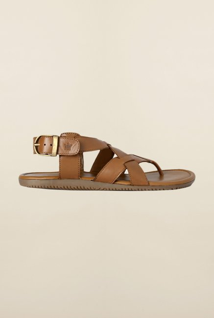 Louis Philippe Tan Back Strap Sandals