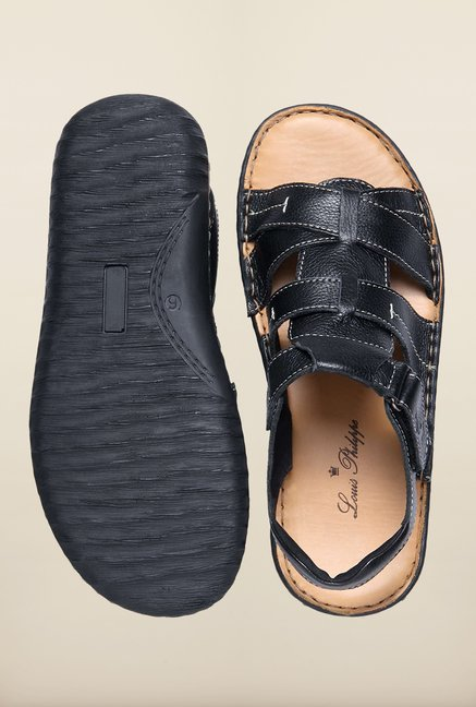 Louis Philippe Black Back Strap Sandals