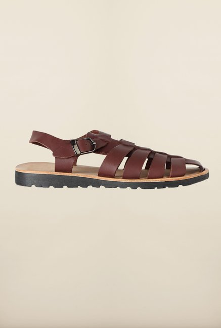 Louis Philippe Brown Fisherman Sandals