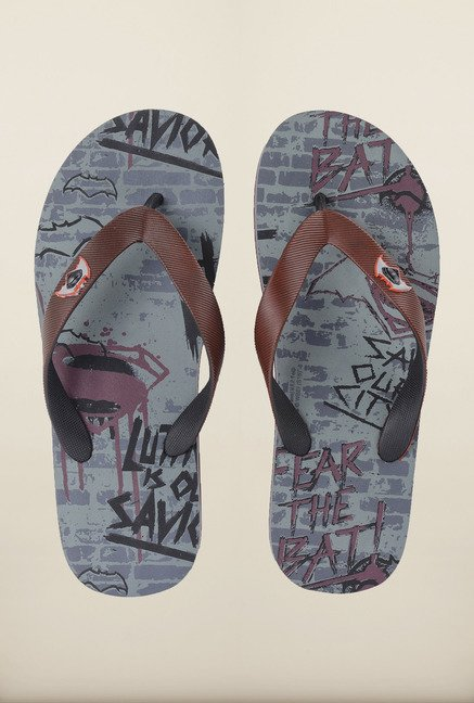 Dawn of Justice Grey & Maroon Thong Flip Flops