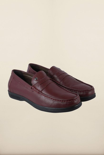 Arrow Burgundy Leather Moccasin Shoes