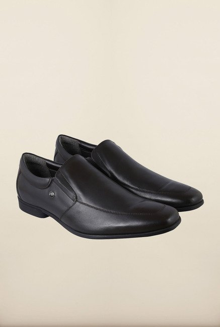 Arrow Black Leather Slip-Ons Shoes