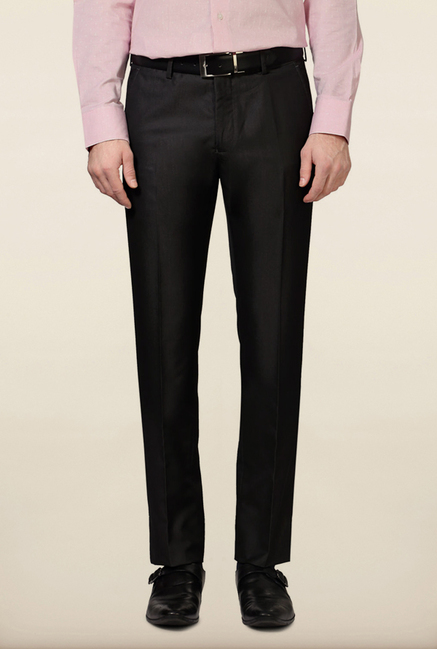 Van Heusen Dark Grey Solid Slim Fit Trouser