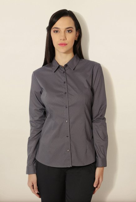 Van Heusen Grey Printed Shirt