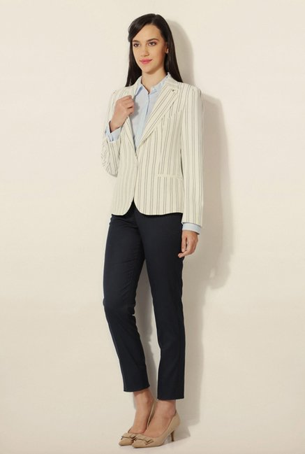 Van Heusen Off White Striped Blazer