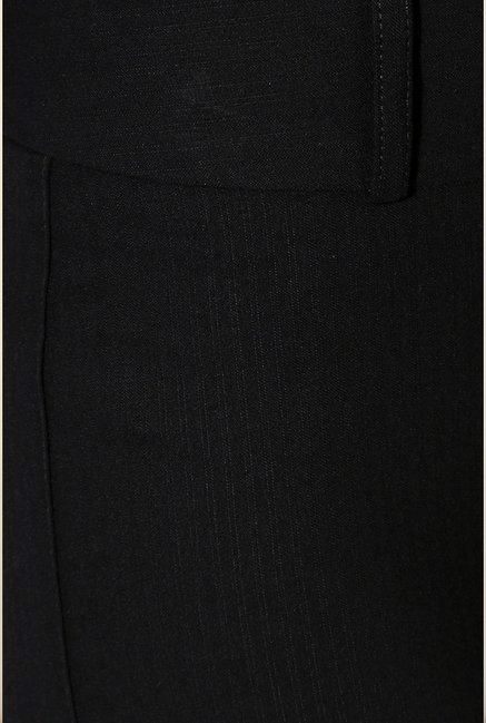 Van Heusen Black Solid Slim Fit Trouser