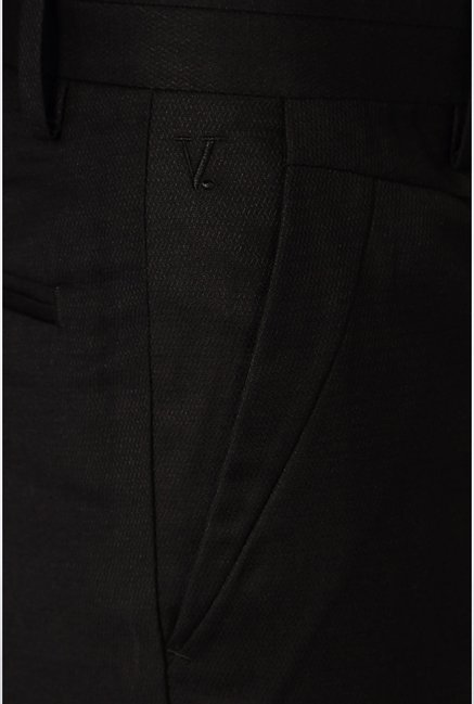 Van Heusen Black Solid Pleated Trousers