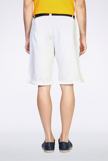 People White Solid Shorts
