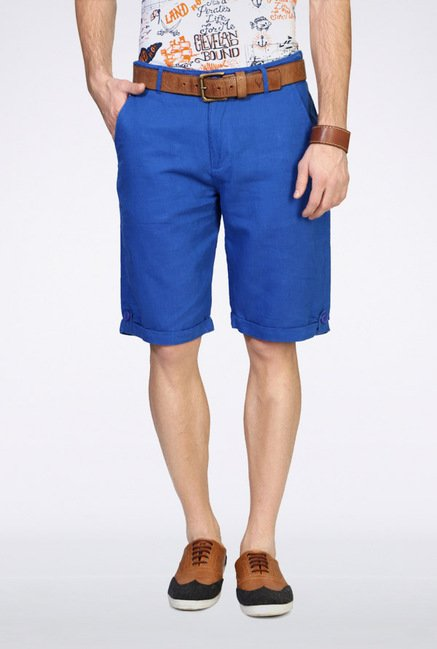 People Blue Solid Shorts