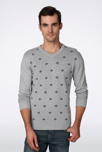 Van Heusen Grey Printed Sweater