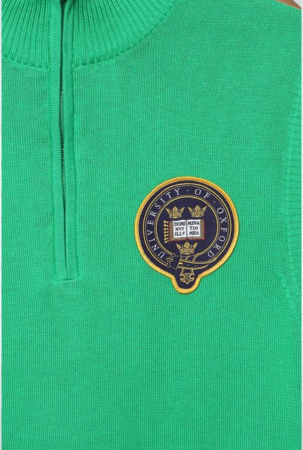 University Of Oxford Green Solid Sweater