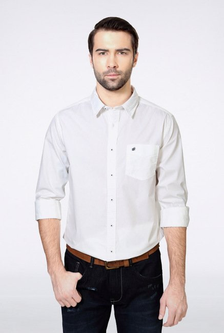 People White Solid Casual Shirt