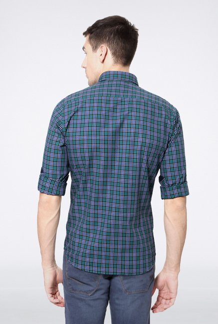 Van Heusen Green Checks Casual Shirt