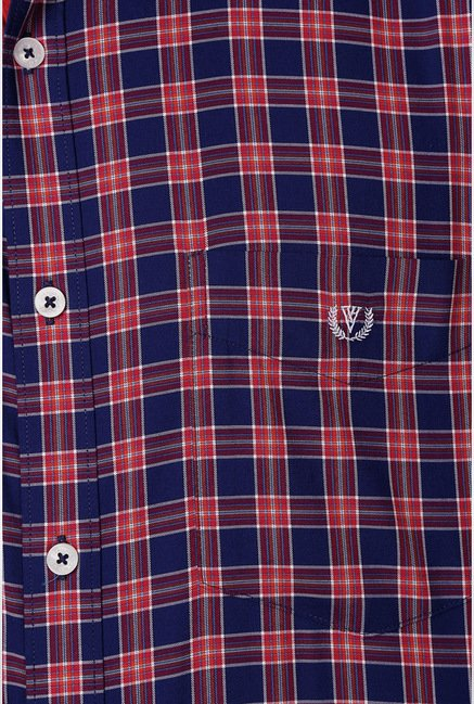 Van Heusen Navy Checks Casual Shirt