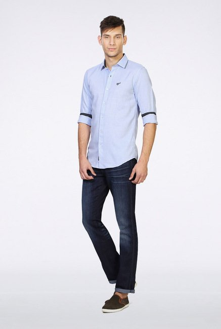 University Of Oxford Light Blue Solid Casual Shirt
