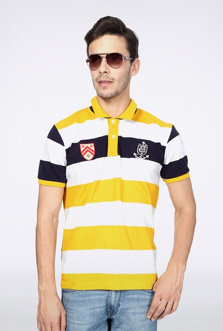 University Of Oxford Yellow Striped Polo T Shirt