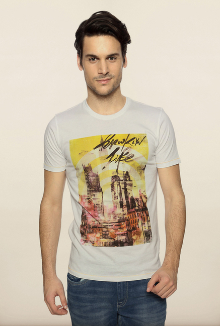 Van Heusen White Graphic Crew T Shirt