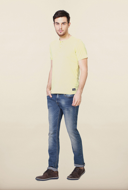 Van Heusen Yellow Solid Henley T Shirt