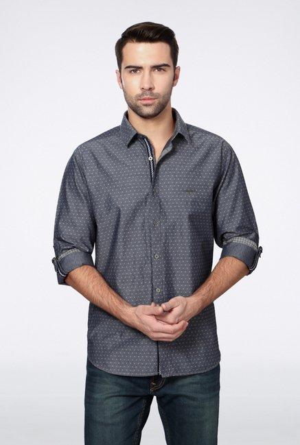 Van Heusen Grey Printed Casual Shirt