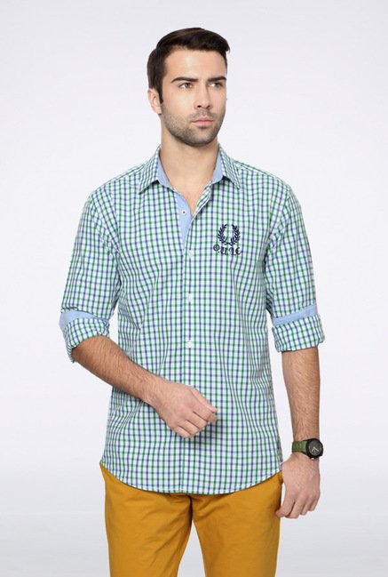 University Of Oxford Green & Blue Checks Casual Shirt