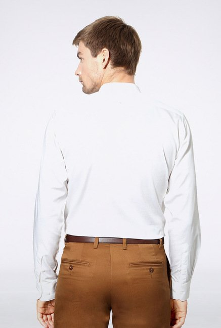 University Of Oxford White Solid Casual Shirt