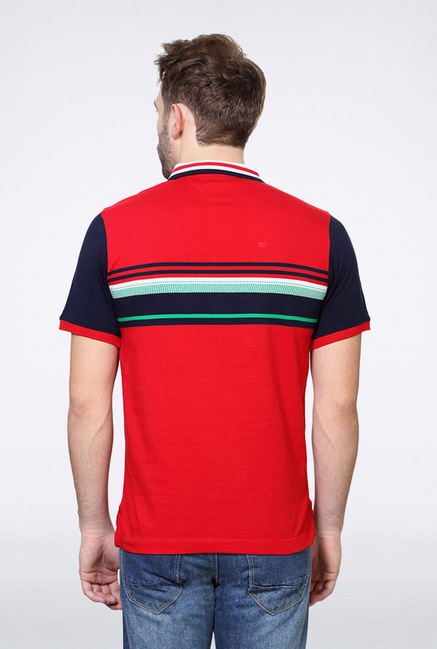 Van Heusen Red Striped Polo T Shirt