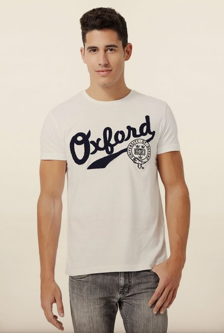 University Of Oxford White Printed Crew T Shirt