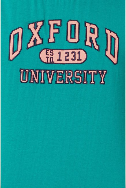 University Of Oxford Turquoise Printed Crew T Shirt