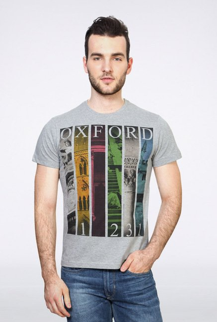 University Of Oxford Grey Graphic Crew T Shirt