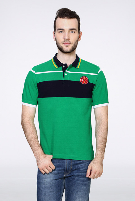 Van Heusen Green Solid Polo T Shirt