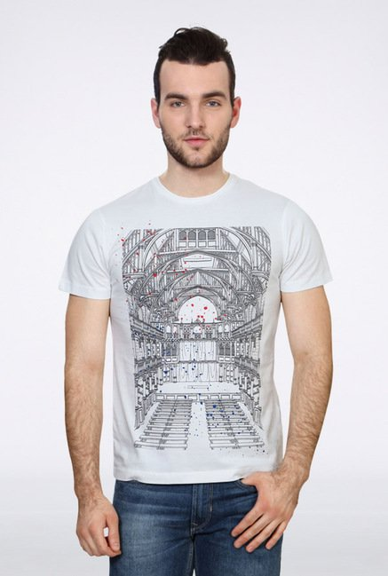 University Of Oxford White Graphic Crew T Shirt