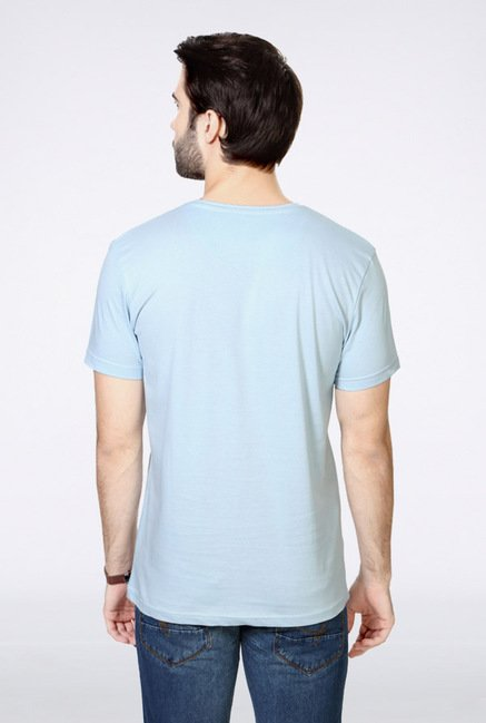 People Blue Printed Crew T Shirt