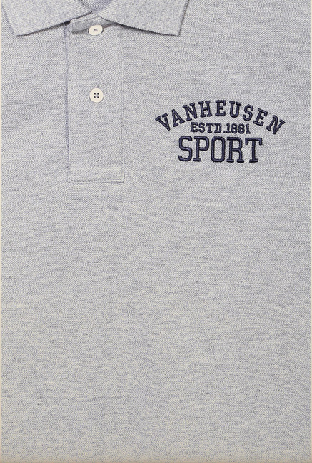 Van Heusen Grey Solid Polo T Shirt