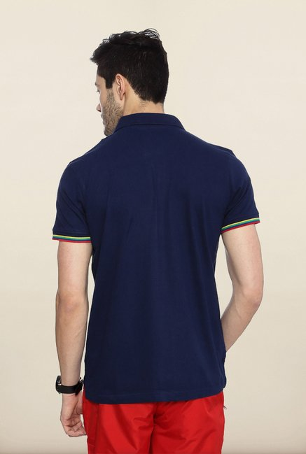 People Navy Solid Polo T Shirt