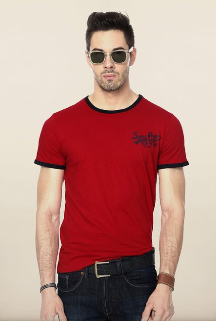 People Red Solid Crew T Shirt