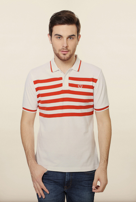 Van Heusen White Striped Polo T Shirt