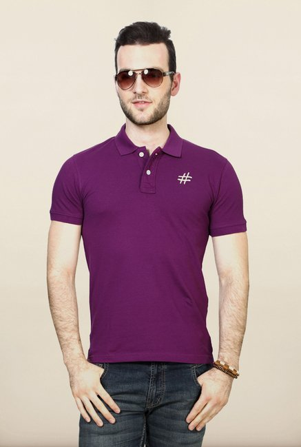 People Purple Solid Polo T Shirt
