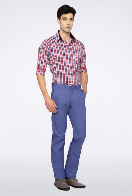 Van Heusen Blue Solid Chinos