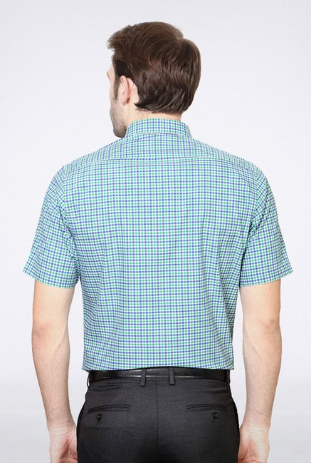 Van Heusen Green & Blue Checks Casual Shirt