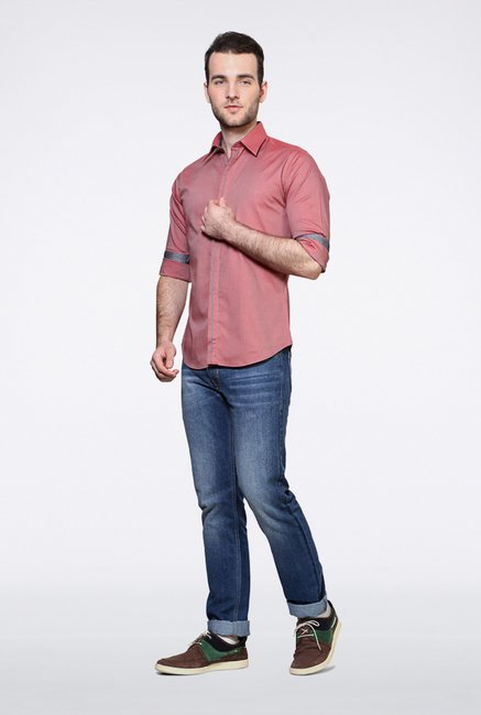 Van Heusen Pink Striped Casual Shirt