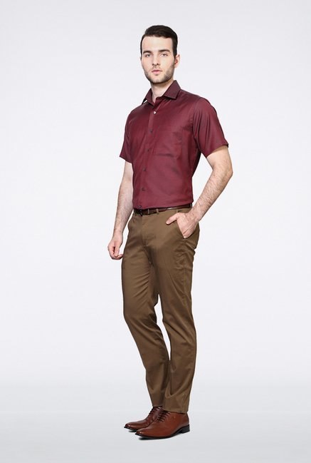 Van Heusen Maroon Pin Striped Casual Shirt