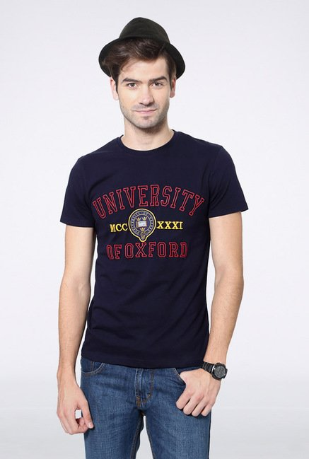 University Of Oxford Navy Printed Crew T Shirt