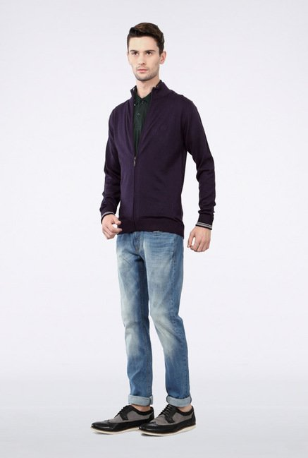 Van Heusen Purple Solid Jacket